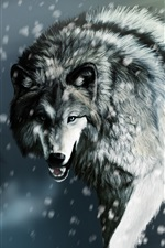 Wounded wolf in the winter