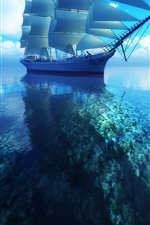 Preview iPhone wallpaper 3D sailboat blue sea