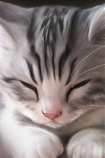 Preview iPhone wallpaper Art watercolor, cute cat sleeping
