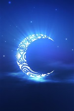 Preview iPhone wallpaper Artistic creation, the crescent moon in the sky
