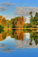 Preview iPhone wallpaper Autumn Lake and Maple HDR landscape