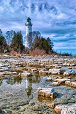 Preview iPhone wallpaper Coastal lighthouse blue sky