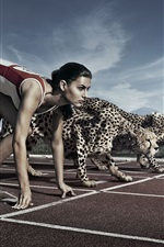 Preview iPhone wallpaper Creative pictures, athletes and cheetah race