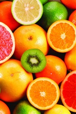 Delicious fruit, oranges and kiwi fruit