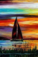 Preview iPhone wallpaper Exquisite painting, sunset sea boat