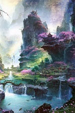 Preview iPhone wallpaper Fantastic world painting, Oriental spring landscapes