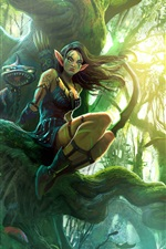 Preview iPhone wallpaper Fantasy elves girl in the forest