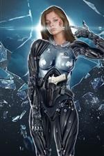 Fantasy girl warrior, broken glass