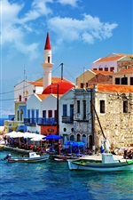 Preview iPhone wallpaper Greece pier boat and house