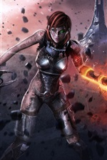 Preview iPhone wallpaper Mass Effect 3, Injured female soldier