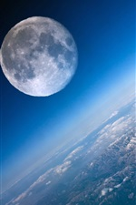 Preview iPhone wallpaper Moon and Earth close-up