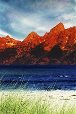 Preview iPhone wallpaper Natural river red rock mountains, blue sky and white clouds