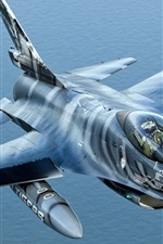 Preview iPhone wallpaper Over the sea fighter F-16AM
