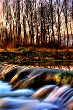 Preview iPhone wallpaper River and the forest of autumn dusk