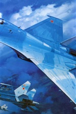 Preview iPhone wallpaper Su-27 military fighter in blue sky