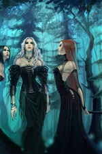 Preview iPhone wallpaper Three black skirt fantasy girl in the forest
