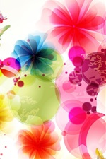Preview iPhone wallpaper Vector design flowers and butterflies