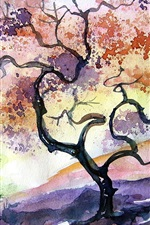 Preview iPhone wallpaper Watercolor cherry tree