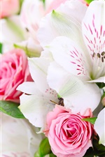 Preview iPhone wallpaper A bouquet flowers, pink roses, white orchids