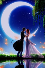 Preview iPhone wallpaper Art paintings, moonlight dating boyfriend and girlfriend