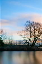 Preview iPhone wallpaper Beautiful lake surface and trees landscape at evening