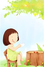 Child theme painting, little girl tea under a tree