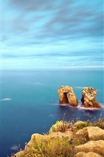 Preview iPhone wallpaper Costa Quebrada sea rocks sky