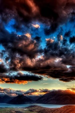 Preview iPhone wallpaper Dawn sky thick clouds, the sun shining bright rays