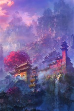 Preview iPhone wallpaper Exquisite watercolors, morning mist mountain temple and waterfalls