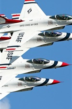 Preview iPhone wallpaper Four fighters lined flight