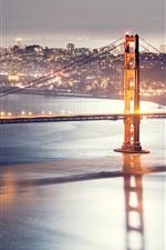 Preview iPhone wallpaper Golden gate bridge, San Francisco, Night bridge lights