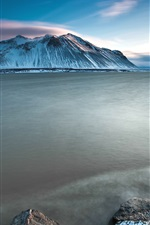 Preview iPhone wallpaper Iceland charming scenery, sea, snow-capped mountains sunset