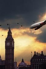 London sky plane at sunset