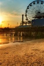 Preview iPhone wallpaper Los Angeles dock Ferris wheel, Beach sunset