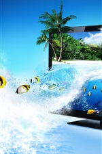 Preview iPhone wallpaper Monitor 3D Creative Advertising, sea, tropical fish, palm trees