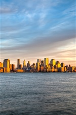 Preview iPhone wallpaper New York, Manhattan island sunset sea sky landscape