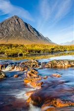 Preview iPhone wallpaper Scotland natural scenery, mountains river sky rocks