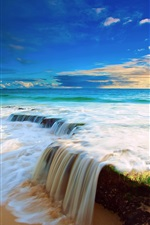 Preview iPhone wallpaper Sea, sky, clouds, beach water flow waterfall, beautiful scenery
