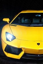 Preview iPhone wallpaper Yellow color Lamborghini Aventador LP700-4