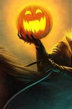 Pintura da arte de Halloween luz abóbora cavaleiro, olhos ardentes cavalo