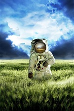 Preview iPhone wallpaper Astronaut vast green grasslands