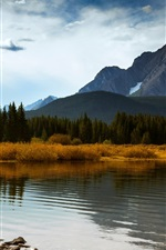 Preview iPhone wallpaper Canada Alberta, autumn mountains forest lake, blue sky clouds