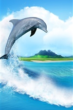 Preview iPhone wallpaper Creative Image, heart-shaped clouds, sea, sailing, dolphin