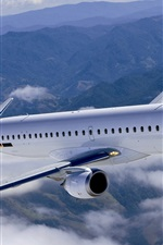 Preview iPhone wallpaper Sky with white clouds, passenger aircraft