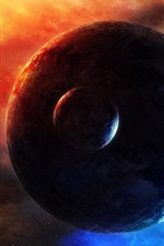 Preview iPhone wallpaper Space Earth moon, stars and nebula glow