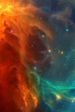 Preview iPhone wallpaper Space nebula, blue and red galaxies