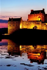 Preview iPhone wallpaper Twilight beauty of the sunset, lake castle reflection