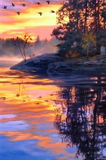 Preview iPhone wallpaper Art painting, twilight scenery, lake, forest, birds, sunset