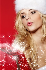 Preview iPhone wallpaper Beautiful Christmas girl, blonde snow maiden, snowflakes, red background