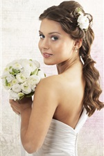Preview iPhone wallpaper Beautiful bride holding a bouquet of white roses